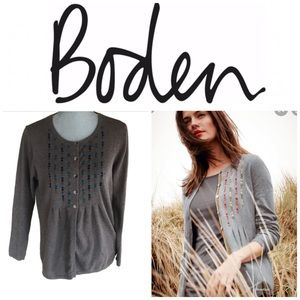Boden Women's Embroidered Spot Cardigan Brown Teal
